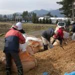 森林保全チームによる第2回チップ運搬作業の様子